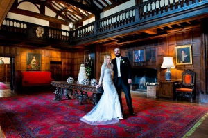 Hampden House wedding photography portrait in the Great Hall