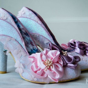 Hartwell House wedding photography of the bride's funky shoes