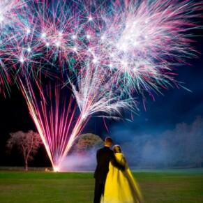 Missenden Abbey autumn wedding fireworks display