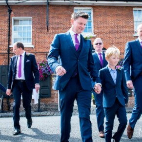 The lads arriving at St Mary's Church Amersham summer wedding