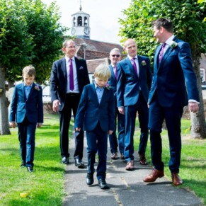 The lads arriving at St Mary's Church Amersham wedding