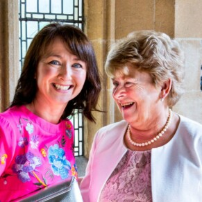Smiling faces at St Mary's Church Amersham wedding