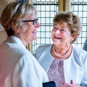 Happy faces at St Mary's Church Amersham wedding