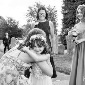 Hugs pre ceremony at St Mary's Church Amersham wedding