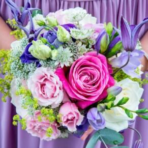 Flower girl's bouquet at St Mary's Church Amersham wedding