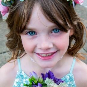 Flower girl at St Mary's Church Amersham wedding