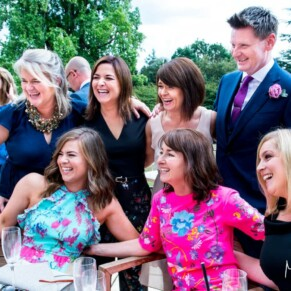 Taplow House Hotel wedding photos of the guests on the terrace