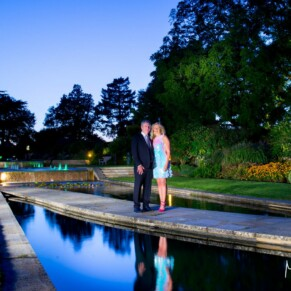 Grove Hotel Watford wedding photography at dusk in the gardens