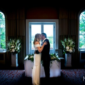 Grove Hotel Watford wedding photography of the first kiss during the ceremony