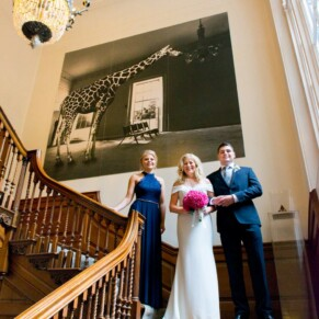 Grove Hotel Watford wedding photography on the grand staircase